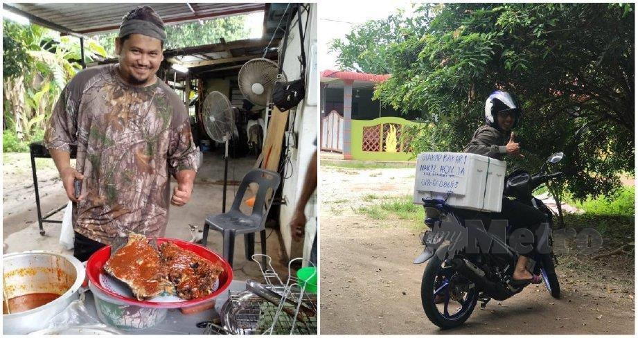 (Gambar kiri) Hisyam menjalankan perniagaan menjual ikan siakap bakar. (Gambar kanan) Noofaeezi ditugaskan sebagai penghantar ikan siakap bakar. FOTO ihsan Hisyam Md Jusoh