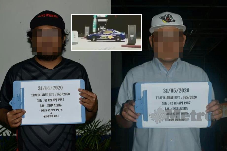 DUA lelaki ditahan berhubung aksi 'drift' berbahaya di dalam stesen minyak (gambar kecil) yang tular di media sosial. FOTO ihsan pembaca