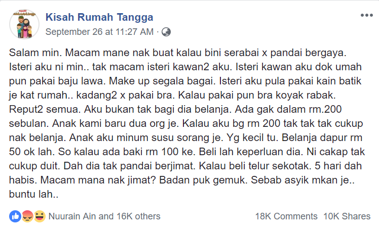 Image from Facebook Kisah Rumah Tangga